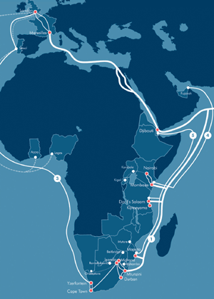 The SEACOM cable map