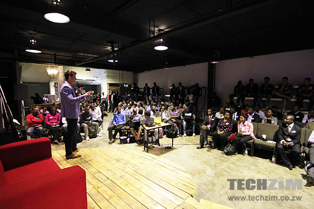 Tommy Deuschle speaking at the Pitch Night at The Basement