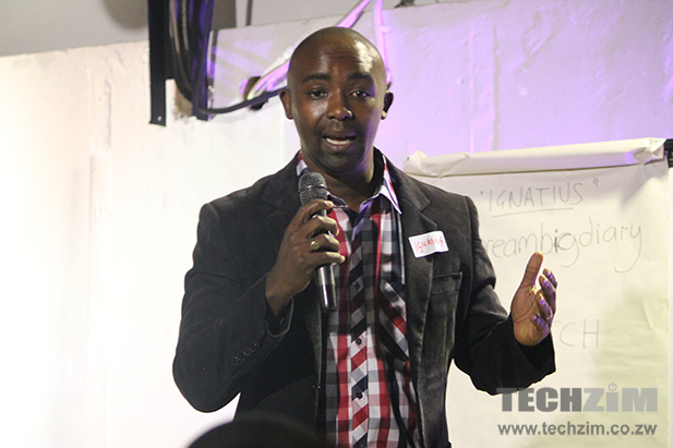 Ignatius Munengwa presenting the Dream Big Diary