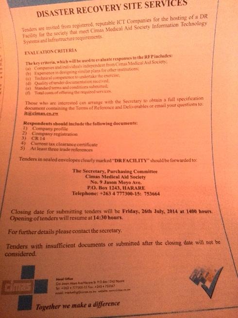"CIMAS ""Dr Facility"" Tender - The Sunday Mail 13 Jul 2014"