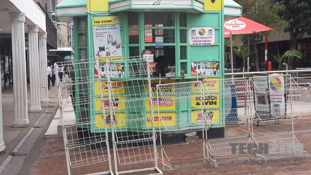 An empty newsstand in Harare