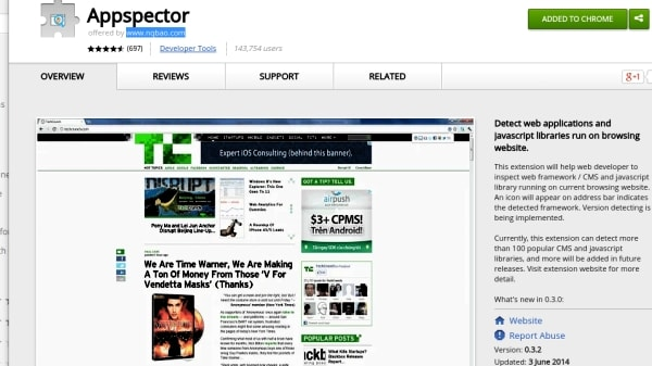 Appspector is a Chrome extension that llows you to see the technologies being used behind the scenes.