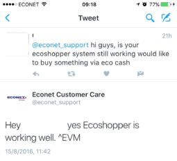 Twiiter Conversation with Econet Support Team