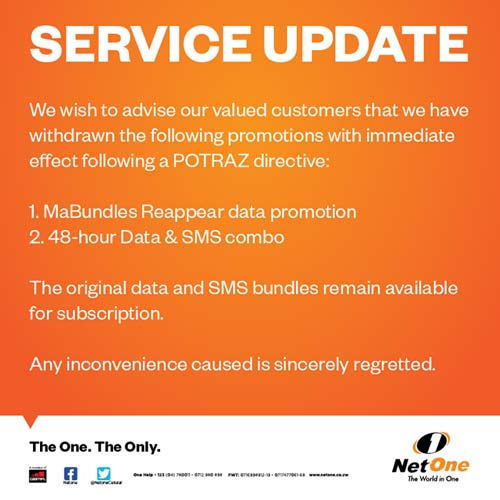 The announcement made by State owned operator, NetOne regarding the suspension of its promos