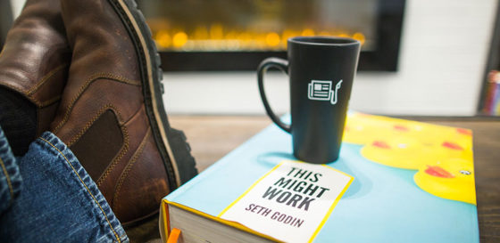 boots on table, cup, this might work seth godin
