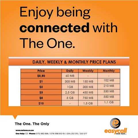 NetOne, mobile data, Day bundles