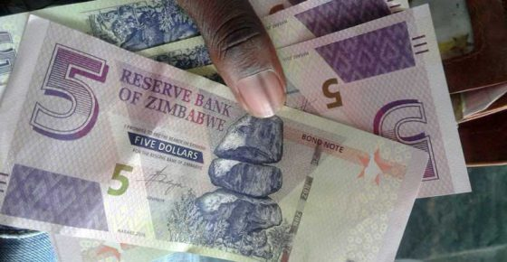 Zimbabwe currency, $5, Reserve Bank of Zimbabwe