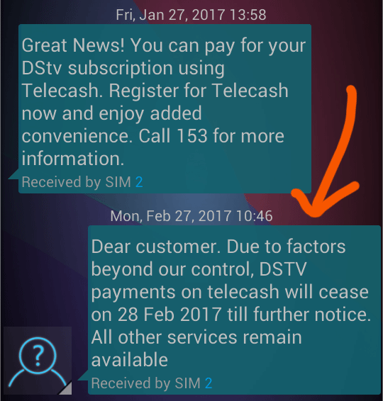 Telecash stops DSTV payments