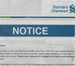 Standard Chartered cancels Visa cards outside Zimbabwe
