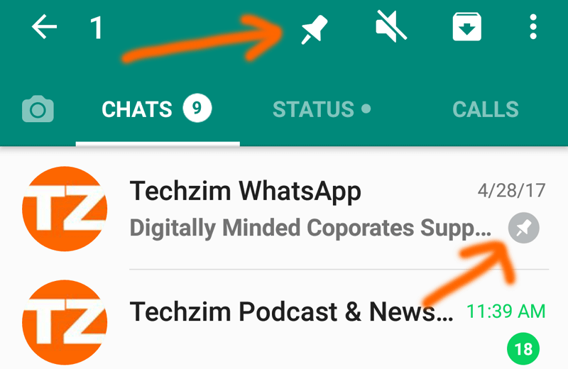 WhatsApp allows users to 'Pin' up to three favourite chats on top