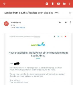 WorldRemit shuts down airtime transfers