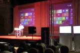 A Microsof representative  at launch of Windows 8 in Harare