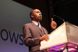 Zim ICT Minister, Nelson Chamisa, speaking at the Launch of Windows 8 in Harare