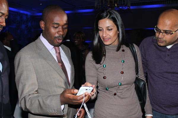 ICT Minister, Nelson Chamisa at the launch of the Samsung Galaxy S III in Harare