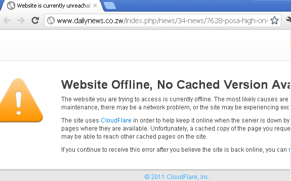 Daily News Site down - April 2012