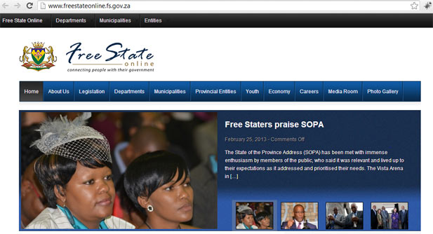 The Free State provincial government website