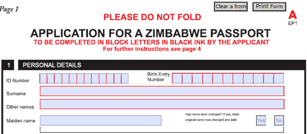 Zimbabwean passport form
