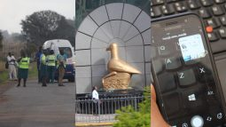 The police at a roadblock, the RBZ building, a phone and a computer
