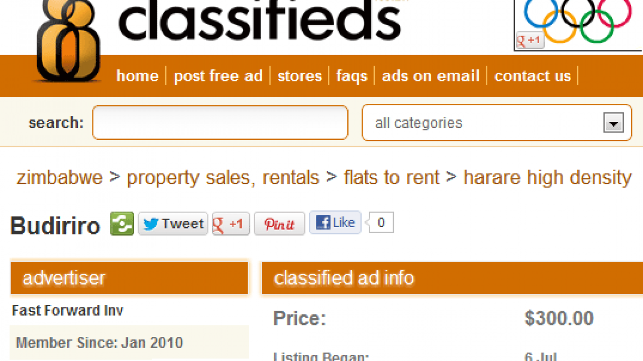 Zimbabwe free in classified ads Classifieds Sites