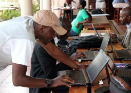 Young tech entrepreneurs at an event in Zimbabwe